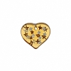 Glass Bead Heart 5X14mm Strung - Topaz/Silver Stars